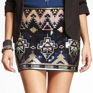 Express Sequin Aztec Mini Skirt Black